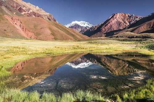Argentina Travel Landscape Photography Aconcagua at 6961m the highest mountain in the Andes Mountain Range Aconcagua Provincial Park Mendoza Province Argentina South America
