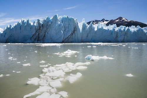 Argentina Travel Landscape Photography Perito Moreno Glacier showing ice melting due to global warming and climate change Los Glaciares National Park near El Calafate Patagonia Argentina South America