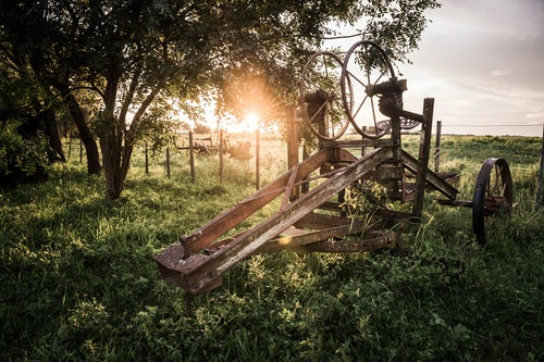 Argentina Travel Landscape Photography Rusty old farm machinery at Estancia San Juan de Poriahu a traditional Argentinian cattle farm in the Ibera Wetlands Corrientes Province Argentina South America