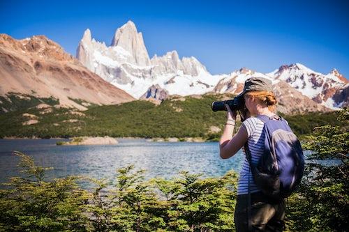 Argentina Travel Landscape Photography Taking a photo at Lago Capri Capri Lake with Mount Fitz Roy aka Cerro Chalten behind El Chalten Patagonia Argentina South America