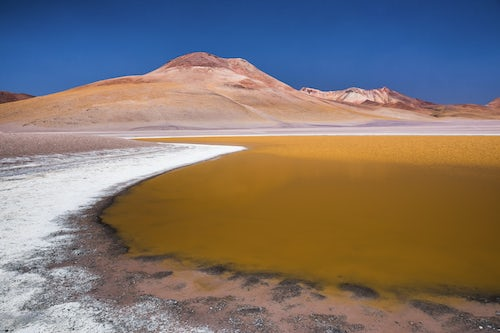 Bolivia Travel Landscape Photography Laguna Hedionda surrounded by salt in the Altiplano of Bolivia South America