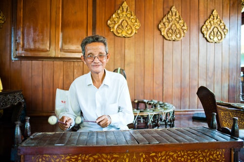 Cambodia Travel Photography Portrait of a musician at the Royal Palace Phnom Penh Cambodia Southeast Asia Asia Southeast Asia