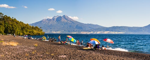 Chile Travel Landscape Photography Calbuco Volcano seen from a beach on Llanquihue Lake Chilean Lake District Chile South America