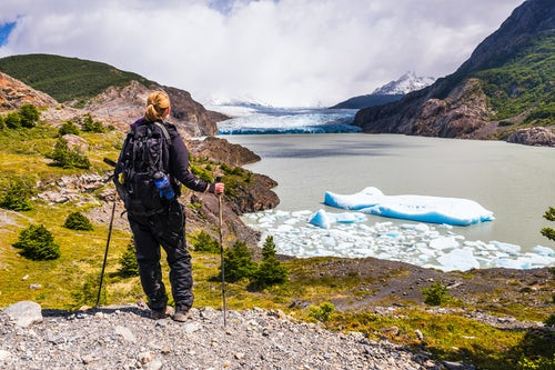Chile Travel Landscape Photography Hiker at Grey Glacier Glaciar Grey Torres del Paine National Park Patagonia Chile South America