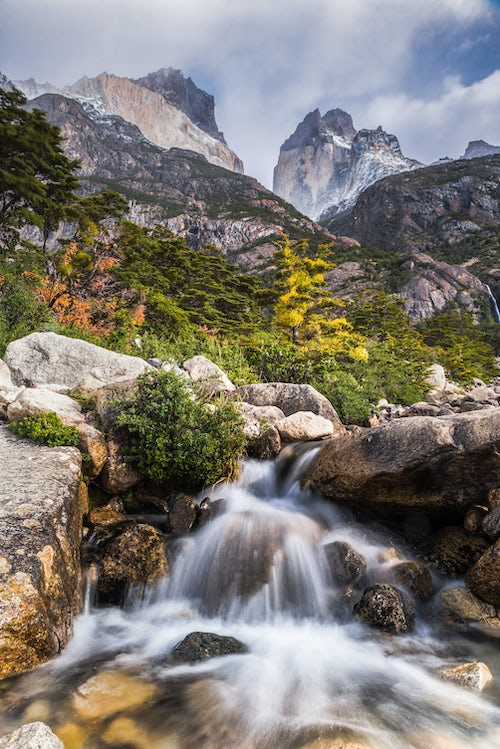 Chile Travel Landscape Photography Los Cuernos and a waterfall in Torres del Paine National Park Parque Nacional Torres del Paine Patagonia Chile South America 2