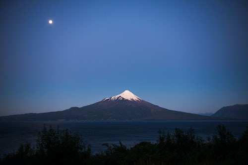 Chile Travel Landscape Photography Osorno Volcano at night Vicente Perez Rosales National Park Chilean Lake District Chile South America