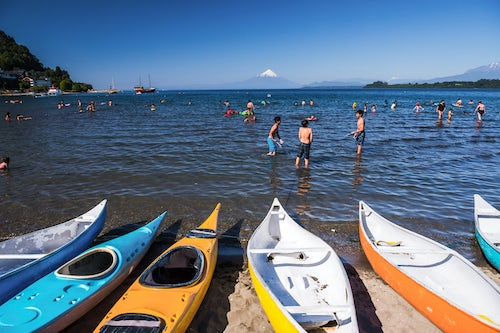 Chile Travel Landscape Photography Puerto Varas Beach on Llanquihue Lake with Osorno Volcano behind Puerto Varas Chile Lake District South America