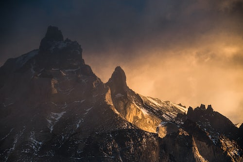Chile Travel Landscape Photography Sunrise Paine Massif Cordillera Paine the iconic mountains in Torres del Paine National Park Patagonia Chile South America