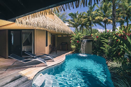 Cook Islands Landscape Travel Photography Private pool at a luxury Villa on a tropical island at Muri Rarotonga Cook Islands