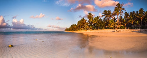 Cook Islands Landscape Travel Photography Tropical beach with palm trees at sunrise Rarotonga Cook Islands