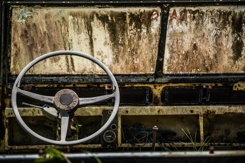 Costa Rica Travel Landscape Photography Old run down Land Rover Arenal Volcano Alajuela Province Costa Rica 2