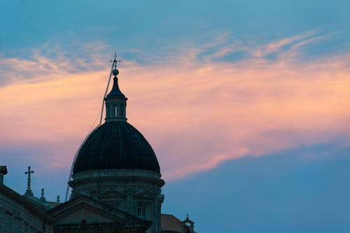 Croatia Travel Photography Dome of Dubrovnik Cathedral at sunset Old City of Dubrovnik Croatia