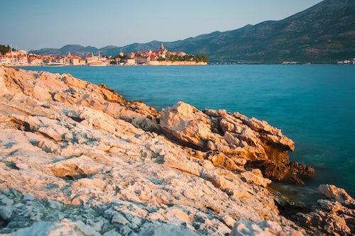Croatia Travel Photography Korcula Island photo of Korcula Town at sunrise Dalmatian Coast Croatia