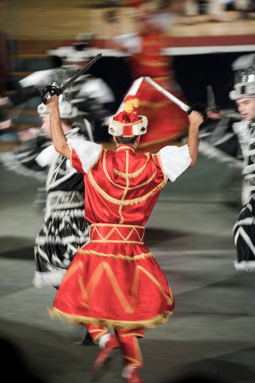 Croatia Travel Photography Motion blurred photo of a dancer doing the Traditional Moreska Sword Dance in Korcula Dalmatian Coast Croatia Europe