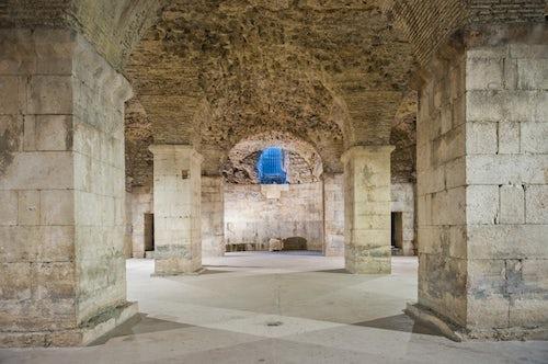 Croatia Travel Photography Photo of Diocletians palace Underground Halls Split Croatia