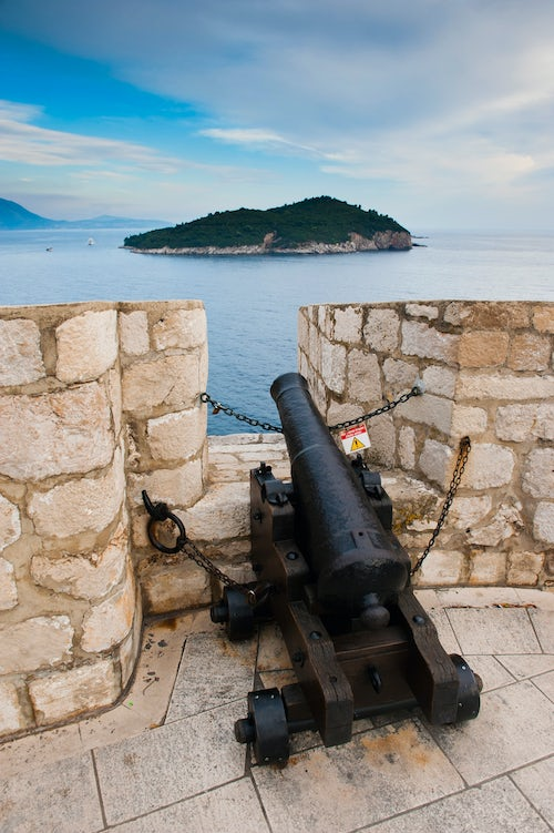 Croatia Travel Photography Photo of a cannon on Dubrovnik City Walls Dubrovnik Old Town Croatia
