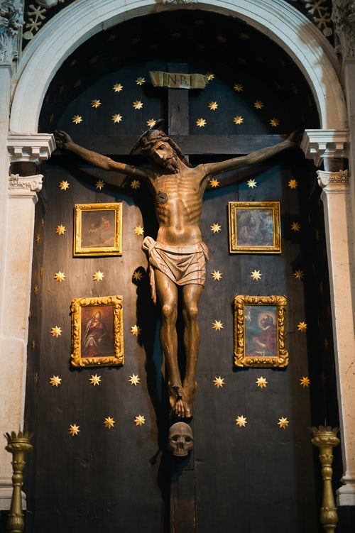 Croatia Travel Photography Photo of a statue of Jesus on the cross inside the Cathedral of St Lawrence Trogir Dalmatian Coast Croatia Europe