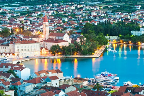 Croatia Travel Photography Photo of the Cathedral of St Lawrence in Trogir at night Dalmatian Coast Croatia Europe