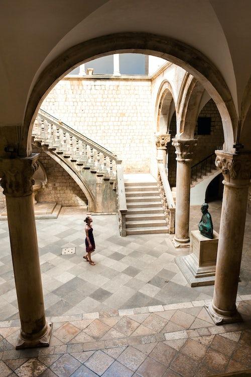 Croatia Travel Photography Photo of tourists inside the Rectors Palace Dubrovnik Croatia