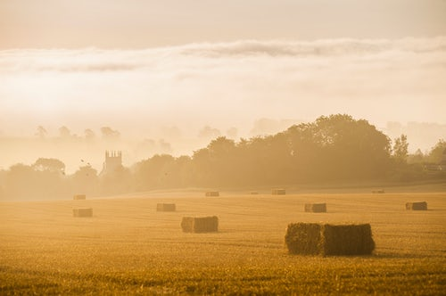 England Landscape Photography Photographer Misty sunrise at St James Church at Longborough a village in The Cotswolds Gloucestershire England United Kingdom Europe