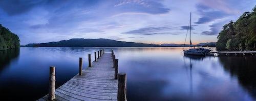 England Landscape Photography Photographer Pier on Lake Windermere at sunset Lake District National Park Cumbria England UK Europe
