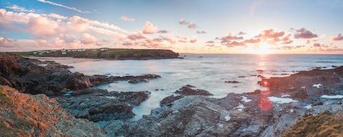 England Landscape Photography Photographer Rocky coast at Treyarnon Bay at sunset Cornwall England United Kingdom Europe