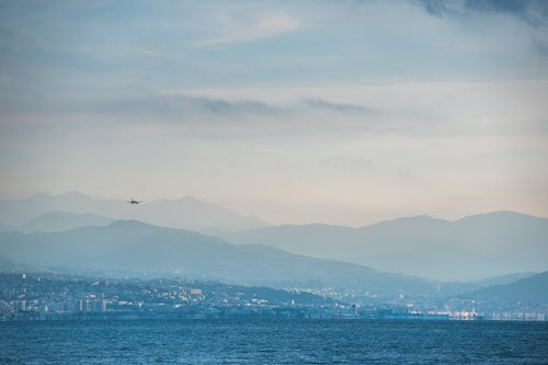 France Landscape Photography Flight arriving into Nice airport seen from Antibes Provence Alpes Côte d Azur South of France Europe