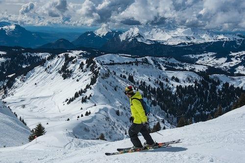 France Travel Photography Skiiers in the Morzine Ski Area Port du Soleil Auvergne Rhone Alpes Alps France Europe
