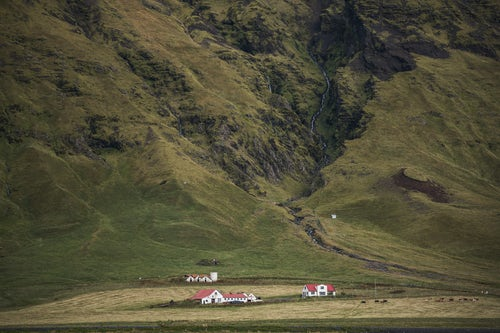 Iceland Landscape Photography Small Hamlet seen from Route 1 in South Iceland Sudurland Europe