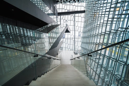 Iceland Travel Photography Modern architecture of glass building at Harpa Concert Hall and Conference Centre Reykjavik Iceland Europe