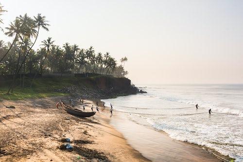India Landscape Photography Fishermen at Kappil Beach Varkala Kerala India