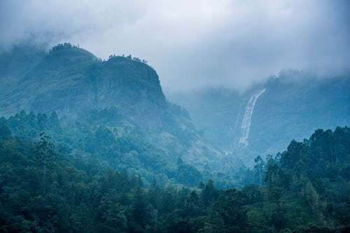 India Landscape Photography Waterfall in the Western Ghats Mountains Munnar Kerala India