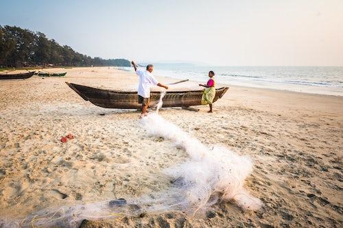 India Travel Photography Fishermen Talpona Beach South Goa India