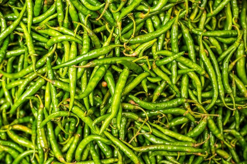 India Travel Photography Green chillies for sale in Mapusa Market Goa India