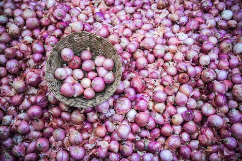 India Travel Photography Onions for sale in Chaudi Market Goa India