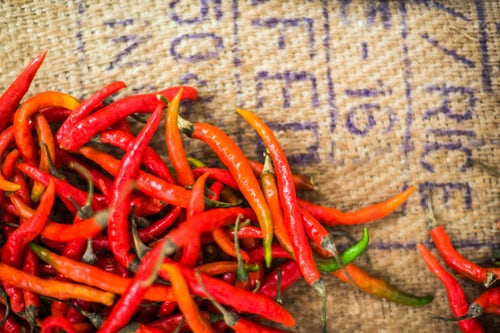 India Travel Photography Red chillies for sale in Mapusa Market Goa India