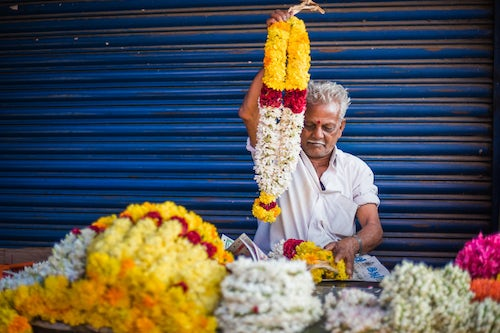 India Travel Street Photography Selling flowers by a temple at at market in Munnar Western Ghats Mountains Kerala India