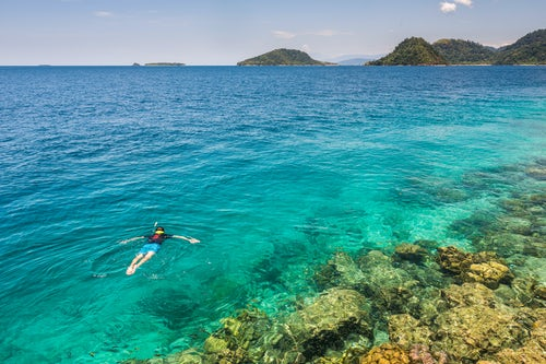 Indonesia Travel Photography Snorkeling at Twin Beach a tropical white sandy beach near Padang in West Sumatra Indonesia Asia background with copy space