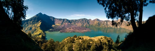 Indonesia Landscape Travel Photography Panoramic Photo of Mount Rinjani on Lombok the Second Highest Volcano in Indonesia Asia