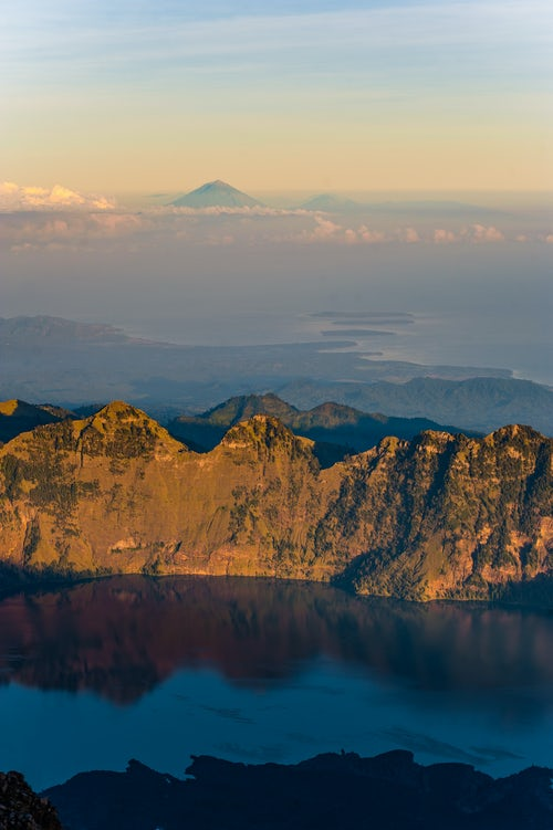 Indonesia Landscape Travel Photography Sunrise View of Mount Segara Anak Lake Mount Agung and the thre Gili Isles from the 3726m Summit of Mount Rinjani Lombok Indonesia Asia 2