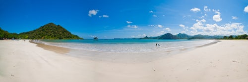 Indonesia Travel Photography Panoramic Photo of the Tropical Paradise of Selong Belanak Beach South Lombok Indonesia Asia background with copy space
