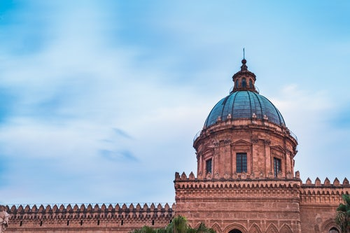 Italy Sicily Travel Photography Long exposure photo of the dome of Palermo Cathedral Duomo di Palermo Sicily Italy Europe