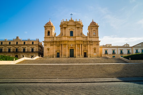 Italy Sicily Travel Photography Noto St Nicholas Cathedral Cattedrale di Noto Duomo at the top on an enormous set of Baroque steps Piazza Municipio Noto Sicily Italy Europe