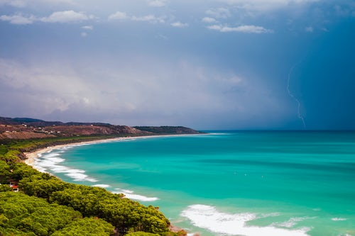 Italy Sicily Travel Photography Thunder and lightning storm over Capo Bianco Beach and the Mediterranean Sea in the Province of Agrigento Sicily Italy Europe