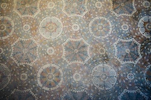 Italy Sicily Travel Photography Villa Romana del Tellaro mosaic patterns at the old house near Noto in South East Sicily Italy Europe
