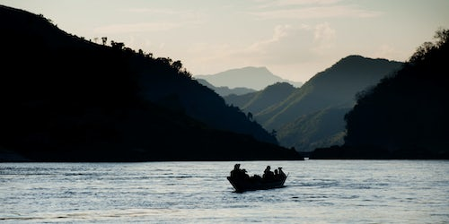 Laos Travel Photography Boat on the Mekong from Houey Xai Thailand to Luang Prabang Laos Southeast Asia