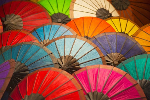 Laos Travel Photography Colourful Umbrellas for Sale at the Night Market in Luang Prabang Laos Southeast Asia