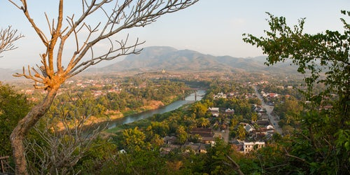 Laos Travel Photography Panoramic Photo of the View over Luang Prabang from Wat Phousi Temple Laos Southeast Asia