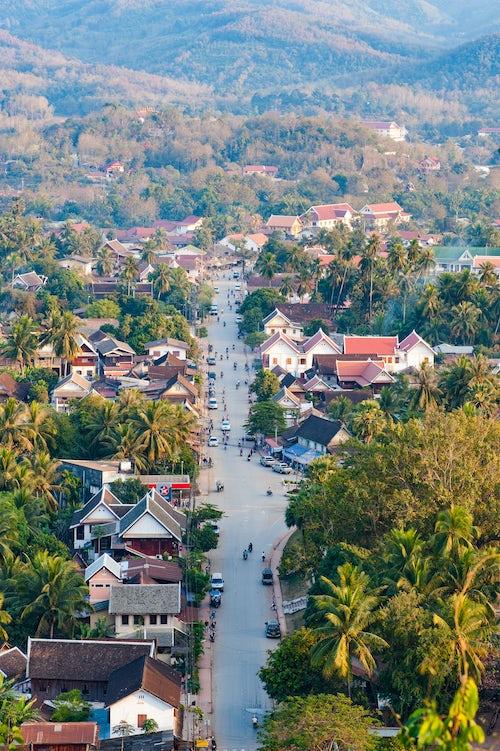 Laos Travel Photography View over Luang Prabang from Wat Phousi Temple Laos Southeast Asia