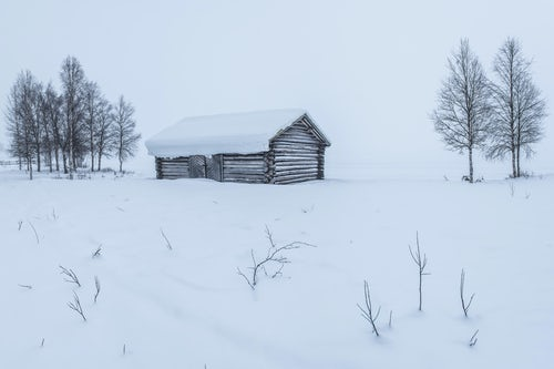 Lapland Finland Landscape Photography Cabin in a cold winter landscape in Lapland inside the Arctic Circle in Finland